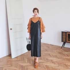 PPGIRL - Spaghetti-Strap Faux-Leather Long Dress