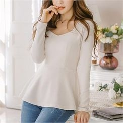 SUVINSHOP - Long-Sleeve A-Line Top