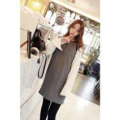 Momnuri - Maternity Contrast-Sleeve Mini Shift Dress