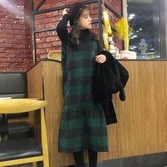 Dute - Set: Turtleneck Knit Top + Check Square Neckline Pinafore Dress
