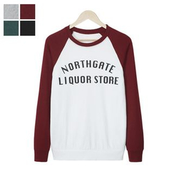 DANGOON - Contrast Raglan-Sleeve Lettering Sweatshirt