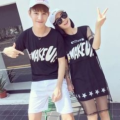 INUS - Couple Matching Short-Sleeve Lettering T-Shirt / Set: Short-Sleeve Sheer T-Shirt Dress + Tank Dress