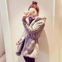 Ashlee - Cable Knit Panel Faux Fur Hooded Jacket