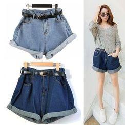 Happy Girl - Cuffed Denim Shorts