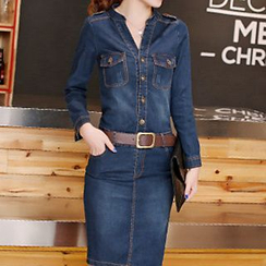Arroba - Long-Sleeve Denim Shirtdress