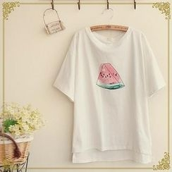 Fairyland - Short-Sleeve Watermelon Print T-Shirt