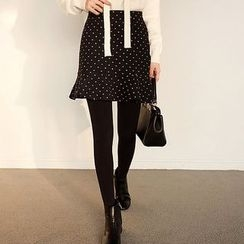 Seoul Fashion - Ruffled-Hem Polka-Dot Skirt