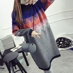FR - Turtleneck Rhombus Patterned Long Sweater