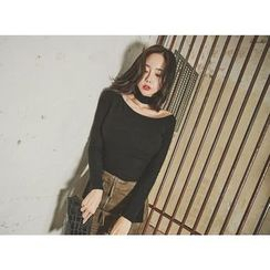 UUZONE - Choker-Neck Bell-Sleeve Knit Top