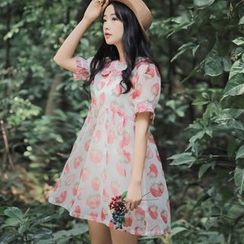 GOGO Girl - Set: Strawberry Print Short-Sleeve Dress + Camisole Top + Shorts