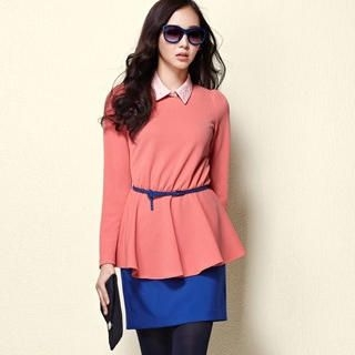 Moonbasa - Long-Sleeve Peplum Top with Collar