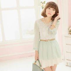 Tokyo Fashion - 3/4-Sleeve Lace-Panel Chiffon Top