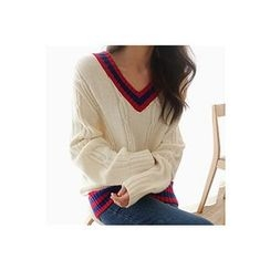 CHERRYKOKO - Contrast V-Neck Cable-Knit Sweater