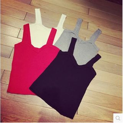 Oaksa - Knit Cropped Tank Top