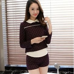 Oaksa - Set: Collared Long Sleeve Top + Patterned Shorts