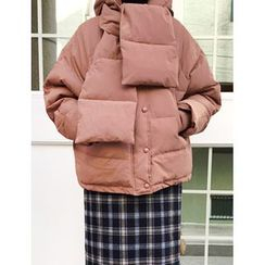 FROMBEGINNING - Hood Padded Jacket with Scarf
