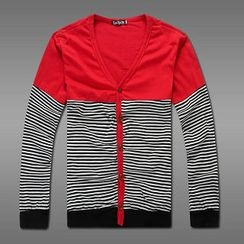 MR.PARK - Striped Panel Cardigan