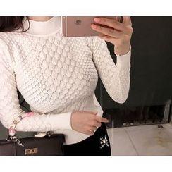 Marlangrouge - Mock-Neck Embossed Sweater