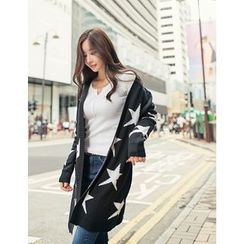 GUMZZI - Star Pattern Zip Long Cardigan