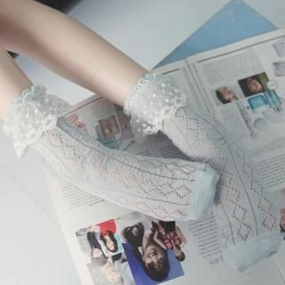 K-Style - Lace-Trim Knit Socks