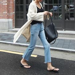 STYLEBYYAM - Linen Blend Open-Front Jacket