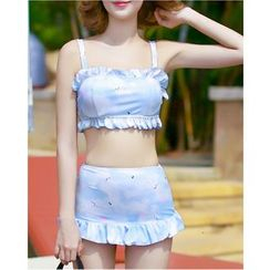 Jumei - Frill Trim Printed 2-Piece Swimdress