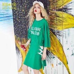ELF SACK - Mock Two-Piece Lettering Dress