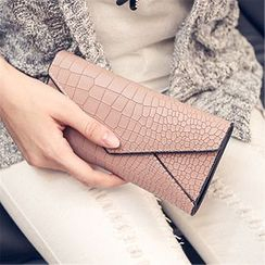 Nautilus Bags - Faux Croc Grain Leather Flap Long Wallet
