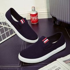 Solejoy - Striped-Trim Canvas Slip-Ons