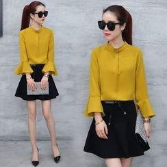 Fenim - Set: Long-Sleeve Blouse + A-Line Skirt