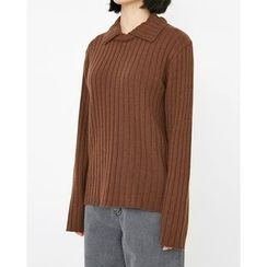 Someday, if - Collared Wool Blend Rib-Knit Sweater
