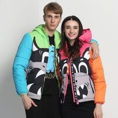 HappyTee - Printed Hooded Couple Puffer Jacket