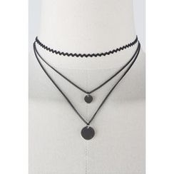 OZNARA - Choker Layered Disc Pendant Tiered Necklace