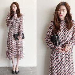 NIPONJJUYA - Gathered- Waist Pattern Chiffon Long Dress