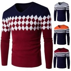 Constein - Argyle Patterned Color Panel Sweater