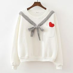 ninna nanna - Heart Bow Fleece-lined Sweatshirt