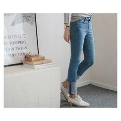 demavie - Rolled-Up Straight-Cut Jeans