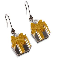 Sweet & Co. - Glitter Yellow Present Dangle Silver Earrings