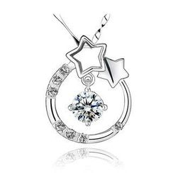 BELEC - White Gold Plated 925 Sterling Silver Star Pendant with White Cubic Zirconia and 45cm Necklace