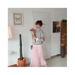 LEELIN - Band-Waist Pleated Long Skirt
