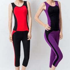 YANBOO - Yoga Set: Two Tone Tank Top + Capri Pants