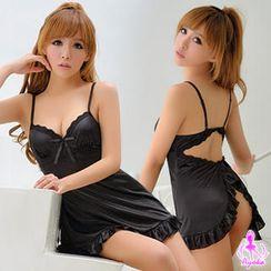 Ayoka - Set: Open-Back Lace Night Dress + Thongs