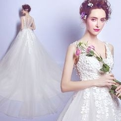 Angel Bridal - Sleeveless Flower Long Train Wedding Dress