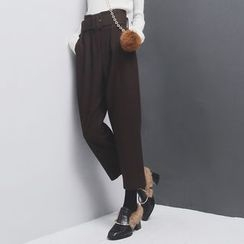 Sonne - Pleated Straight-Fit Pants with Belt
