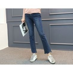 DANI LOVE - Brushed-Fleece Lined Semi Boot-Cut Jeans