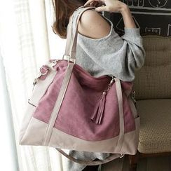 Miss Sweety - Faux Suede Panel Zipped Tote