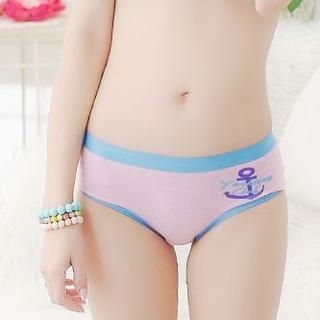 Vanilla Sweet - Contrast-Trim Anchor-Print Panties
