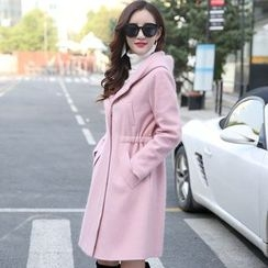 AiSun - Plain Hooded Long Woolen Coat
