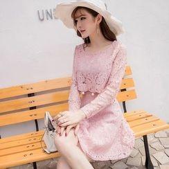 Capricorn - Mock Two-piece Long-Sleeve Lace Dress