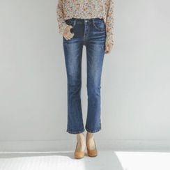 JUSTONE - Slit-Hem Washed Semi Boot-Cut Jeans